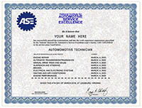 Fake Automotive Technician Certificate