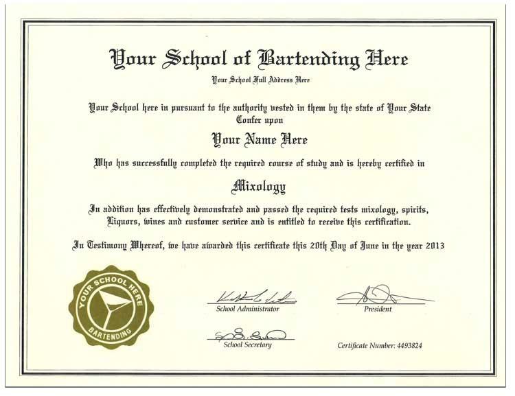 Fake Bartender Certificate Fake Bartender Ertificate