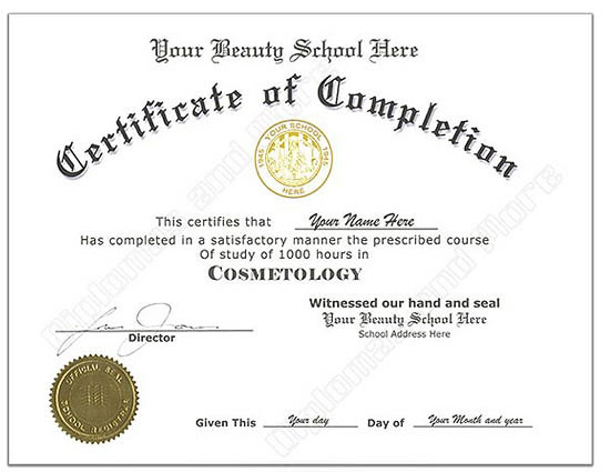 cosmetology certificate template fake cosmetology certificate online diplomas and more