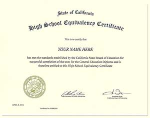 Fake GED Certificates