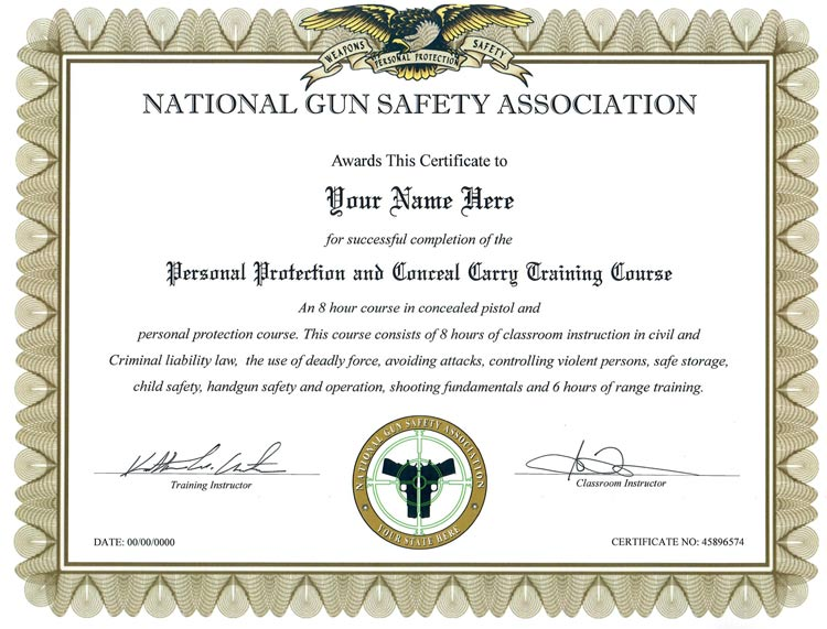 Fake Gun Safety Certificate