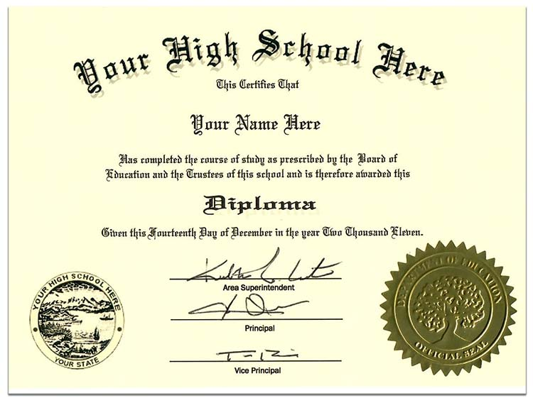 High School Diploma Style 1