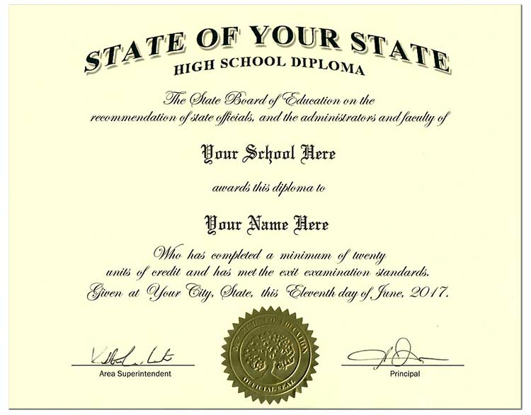 High School Diploma Style 2