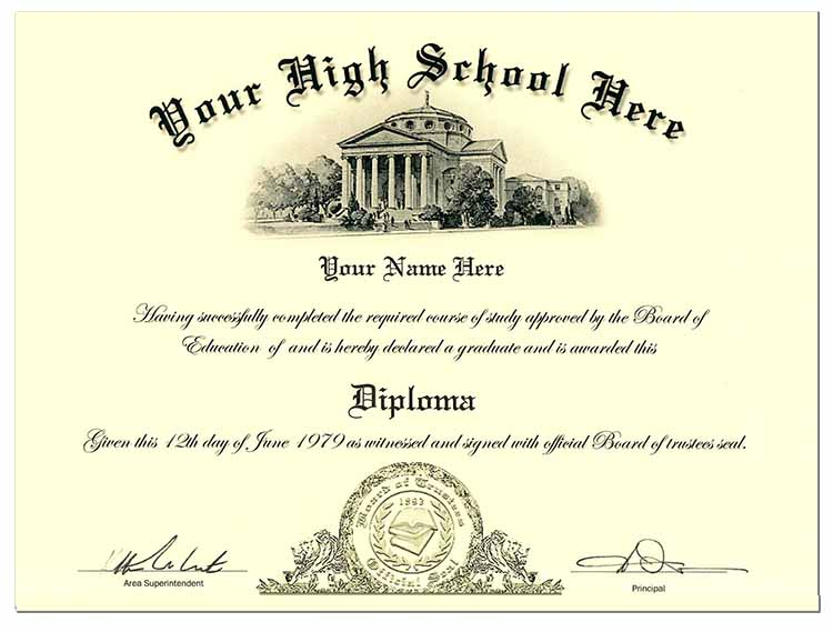 High School Diploma Style 4 - Click Image to Close