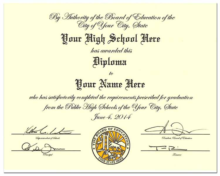 High School Diploma Style 5