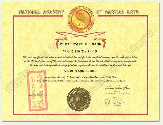 Martial Arts Certificate - Click Image to Close