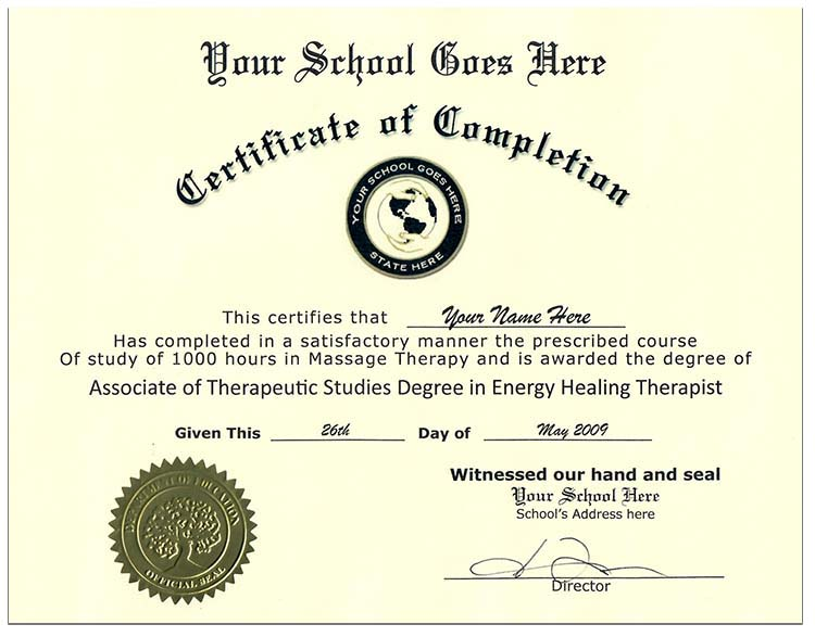 Fake Massage Therapy Certificate style 1