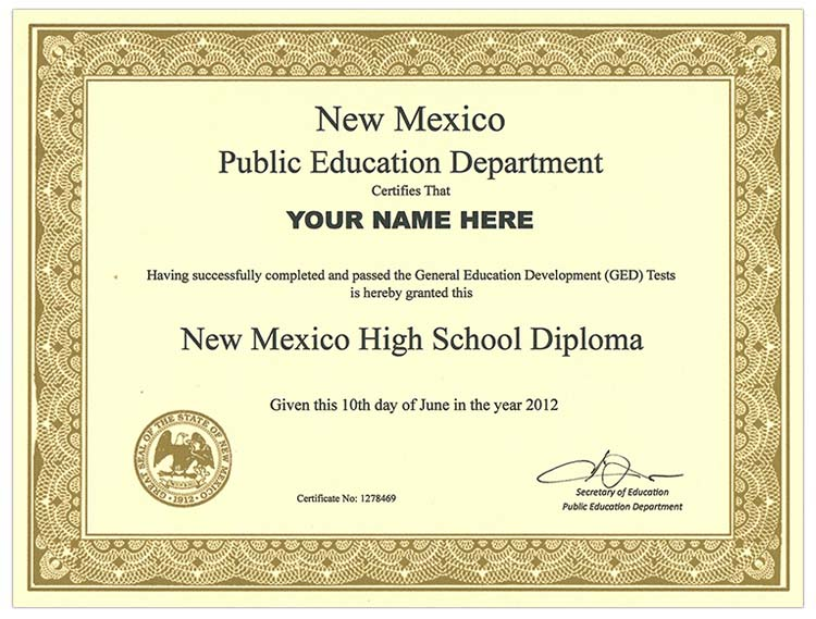 Fake New Mexico GED