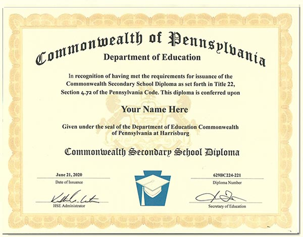 Fake Pennsylvania GED