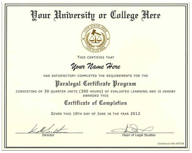 Fake Paralegal Certificate Style 2 - Click Image to Close