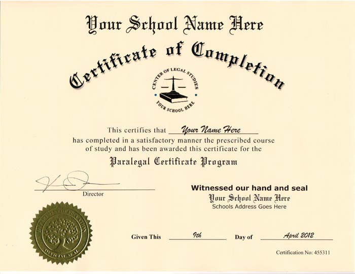 Fake Paralegal Certificate Style 1
