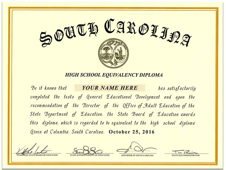 Fake South Carolina GED