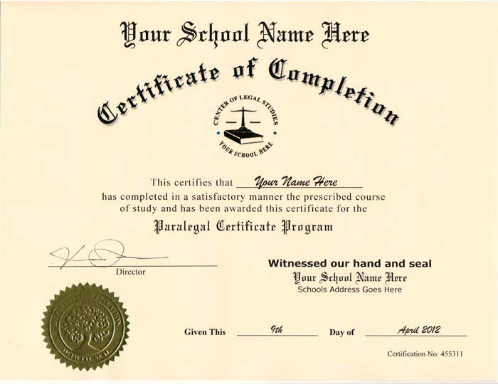 Fake Paralegal Certificate Style 1 - Click Image to Close