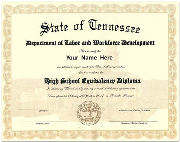 Fake Tennessee GED